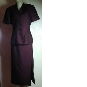 Kasper Dark Wine Skirt Suit Size 10